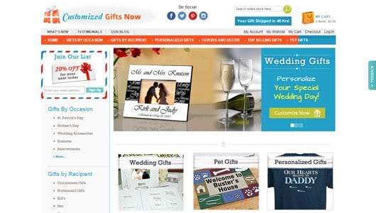party favors website design