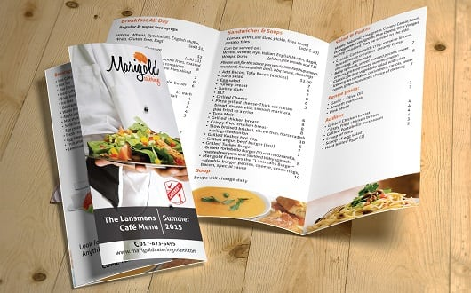 Marigold Catering Menu Design