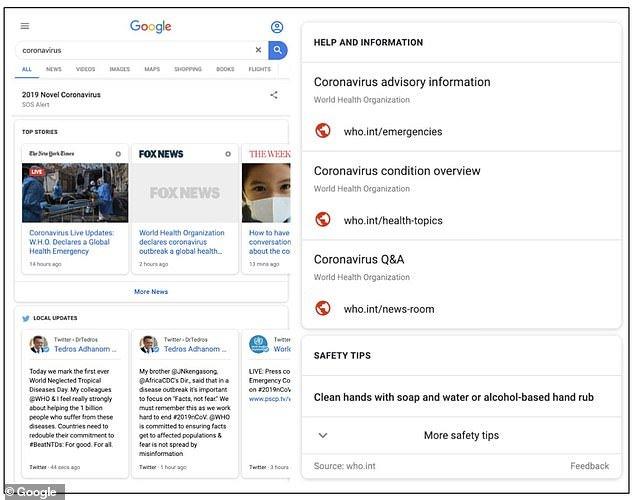 Google SOS Alert Coronavirus